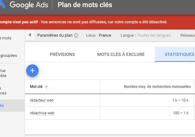 Capture ecran Google Ads redacteur ou redactrice web